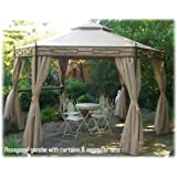 CLAYDON HEXAGONAL GARDEN PARTY GAZEBO WITH PRIVACY SIDES & MOSQUITO NETS