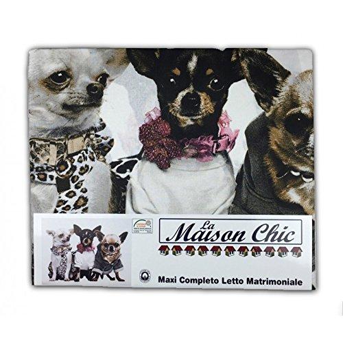 Tex Family - Jugo de sábanas para cama de matrimonio con motivo de perros chihuahua, 2 plazas: Amazon.es: Hogar