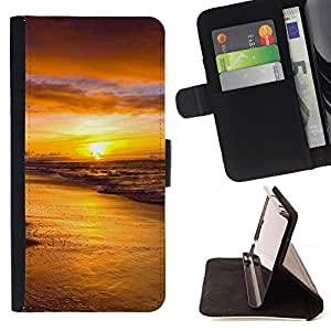 Jordan Colourful Shop - Sunset Sea Beautiful Nature 18 For HTC One M7 - Leather Case Absorci???¡¯???€????€??????????