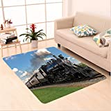 Nalahome Custom carpet intage Black Locomotive in Countryside Landscape Green Grass Puff Train Picture Blue Green Black area rugs for Living Dining Room Bedroom Hallway Office Carpet (5′ X 8′) Review