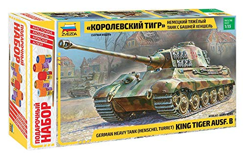 King Tiger Heavy Tank - ZVEZDA 3601 P - German Heavy Tank King Tiger AUSF.B (Henschel Turret) - Gift Set (Paints Included) Plastic Model Kit Scale 1/35 423 Parts Lenght 11,5