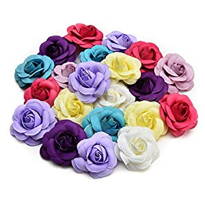 Artificial Flowers Fake Flower Heads in Bulk Wholesale for Crafts Rose Head Silk Rose Bud Wedding Decoration DIY Party Home Decor Wreath Headdress Accessories 20pcs 5cm (Colorful) 23
