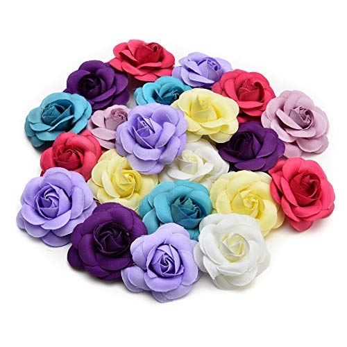 - Artificial Flowers Fake Flower Heads in Bulk Wholesale for Crafts Rose Head Silk Rose Bud Wedding Decoration DIY Party Home Decor Wreath Headdress Accessories 20pcs 5cm (Colorful)