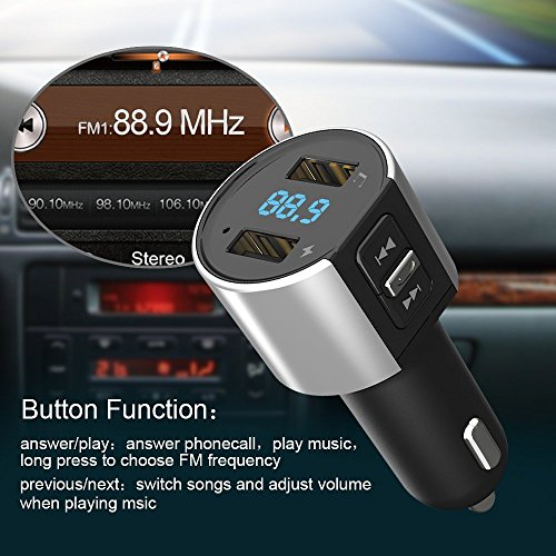 Bluetooth FM Transmitter, Car Charger, Wireless Bluetooth FM Radio Adapter Car Kit FM Transmitter Radio Adapter and MP3 Music Player Control 3.4A Car Charger, Dual USB Ports Charge C26S by Foneda (Image #7)
