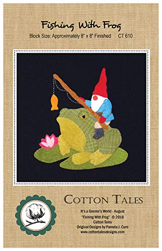 (It's a Gnome's World - August - Fishing with Frog Wool Applique Pattern by Cotton Tales CT610 8