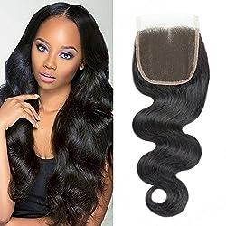 "DMS Brazilian Body Wave 4""x4"" Free Part Lace Closure 100% Unprocessed Human Hair Natural Color8"