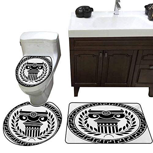 3 Piece Extended Bath mat Set Toga Party Hellenic Column and Laurel Wreath Heraldic Symbol with Olive Branch Graphic Printed Rug Set Black White
