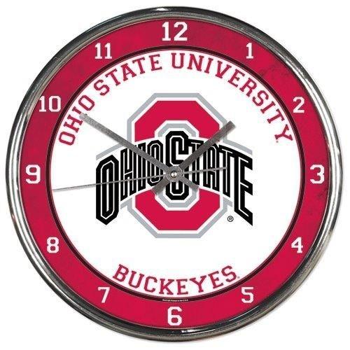 Ohio State Buckeyes Round Chrome Wall Clock