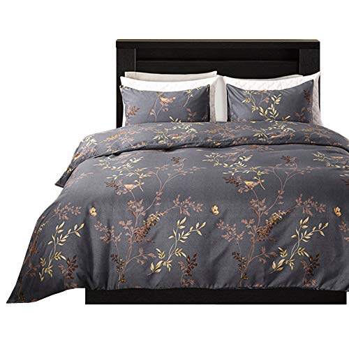 Linen_specialist Botanical Duvet Cover Set Queen Size, Floral Bedding Set with Zipper Closure and 4 Corner Ties, 120 GSM Soft Microfiber, Leaf and Butterfly Printed Pattern Printed