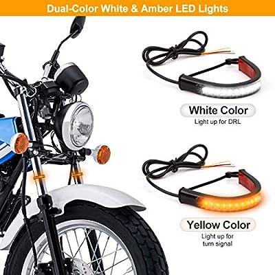 1 Pair Universal Motorcycle LED Fork Tail Brake Stop Turn Signal Daytime Running Light Flexible Switchback Dual-Color White & Amber 36LED Stip Lights kit Waterproof for Motorbike (2PCS, White & Amber): Automotive