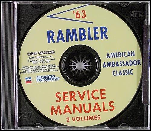 CD-ROM 1963 AMC Rambler Repair Shop Manual Set