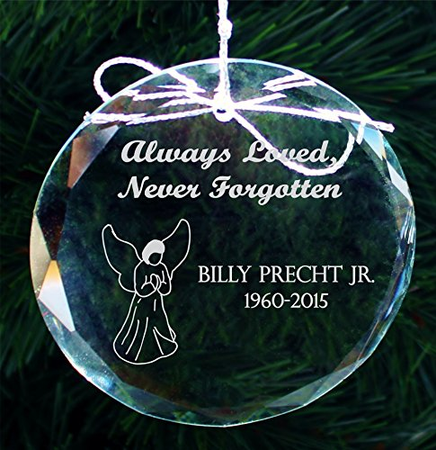 Personalized Memorial Christmas Ornament, Handmade Crystal Ornaments - COR002 (Reflect Quotes Christmas Time)