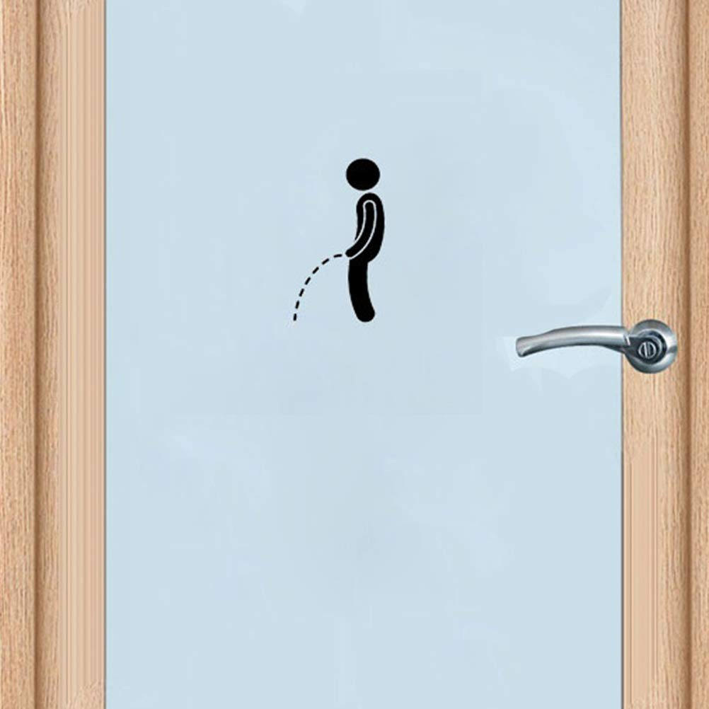 TOPBATHY 5pcs Toilet Stickers Funny DIY Toilet Decals Removable Self Adhesive WC Sign Sticker for Bathroom Washroom Wall Door Art Decor