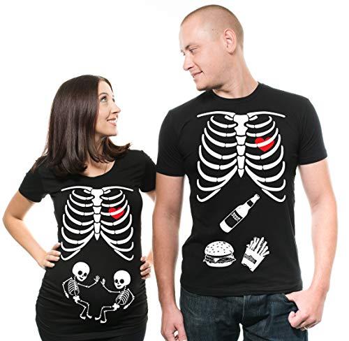 Silk Road Tees Skeleton Maternity Twins Halloween Shirt Men Medium - Women Medium ()