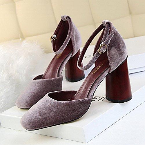 LGK&FA Chaussures Chaussures À Talons Hauts Avec Des Chaussures En Daim Boucle Mot Creux 37 purple h5CaUh