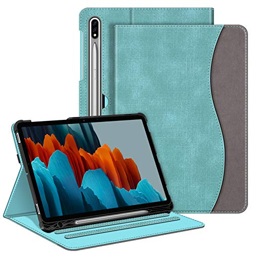 Fintie Case for Samsung Galaxy Tab S7 11'' 2020 (Model SM-T870/T875/T878) with S Pen Holder, Multi-Angle Viewing Stand Cover with Pocket Auto with Sleep Wake, Turquoise