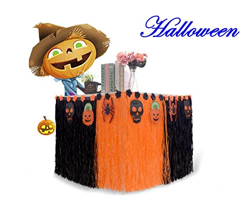 Halloween Table Skirt with Colorful Flowers, Props, Perfect for Halloween Mardi Gras Party Decoration