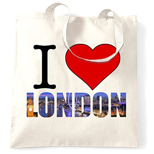 Tote England Size White Love I Bag One Slogan Natural Tourist London dS6Z4wdn