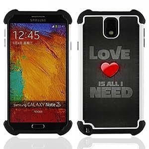 - Love Is All I need - - Doble capa caja de la armadura Defender FOR Samsung Galaxy Note3 N9000 N9008V N9009 RetroCandy