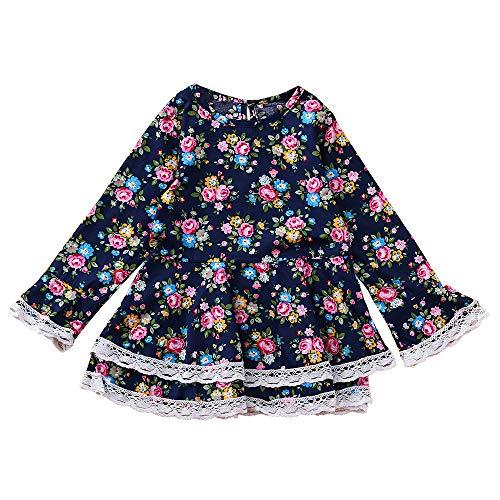 Neonato Manica Stampare Pizzo Outfits Principessa Bambino Fiore Vestito Blu Donna Lungo I75xw6qT