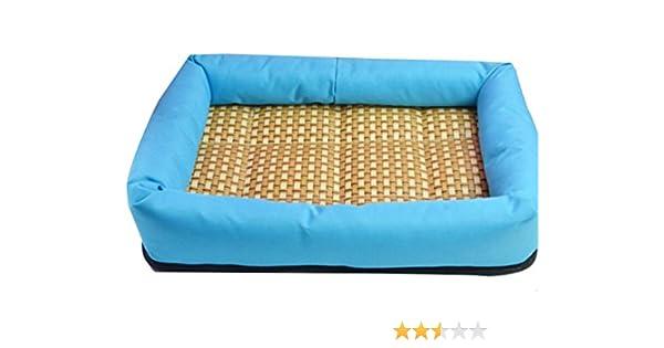 YOUJIA Cómodo Casa para mascotas, Verano Enfriamiento Suave Cama para Perro o Gato Perrera Almohadilla (L: 60*50*7cm, Azul #PVC Fondo): Amazon.es: Hogar