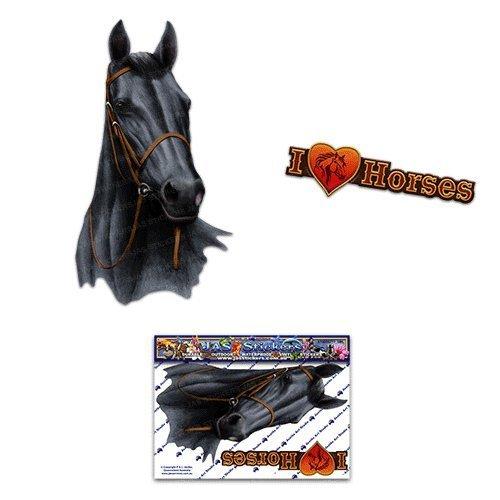 Etiquetas engomadas del coche del negro del caballo - ST00052BK_SML - Etiquetas engomadas del JAS
