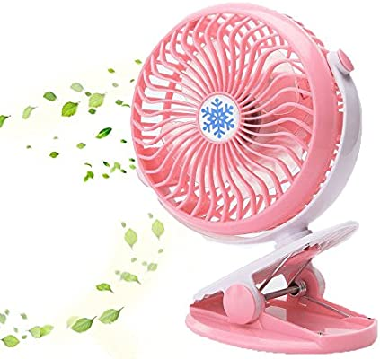 Outdoor Camping-Pink Desk Personal Battery Operated Clip on Fan,TEMPO Mini Portable Rechargeable USB Fan for Table Travel Baby Stroller Car Backseat