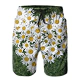 Love Daisy Chrysanthemum Men's/Boys Casual Quick-Drying Bath Suits Elastic Waist Beach Pants with Pockets X-Large