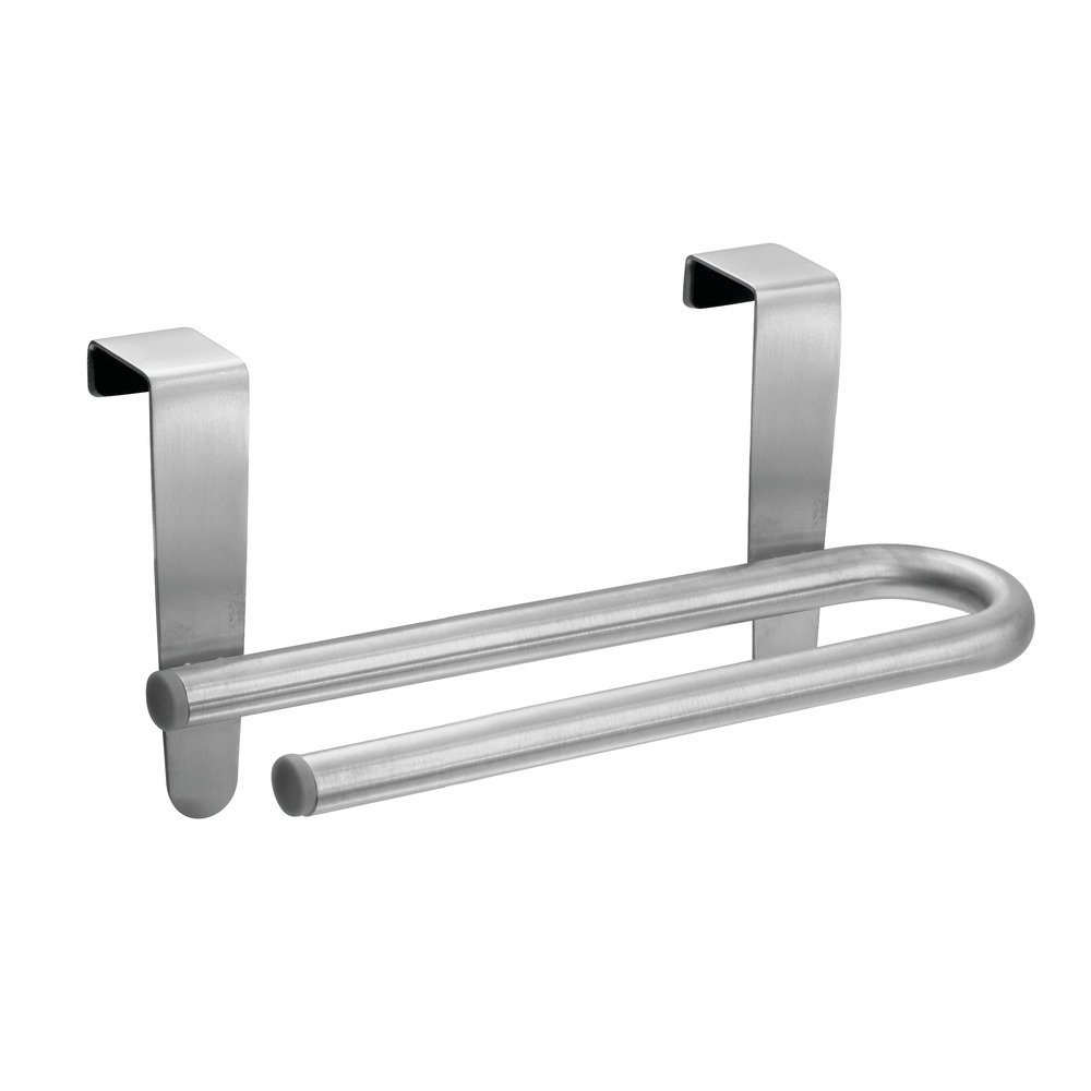 InterDesign Forma Ultra Over-the-Cabinet Kitchen Dish Towel U-Bar Holder - 6.5, Brushed Stainless Steel 29950