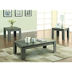 Coaster Contemporary Distressed Grey Three Piece Occasional Table Set