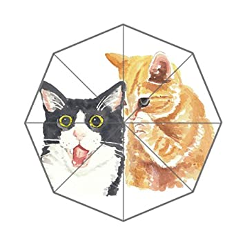 Bonito paraguas plegable para gatos con dibujos de dibujos animados para dibujar a mano