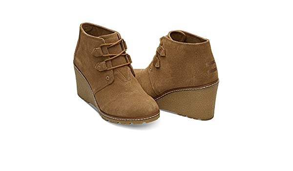 643b3b562285d TOMS Women's Desert Wedge Crepe Taupe Suede Shoes 11
