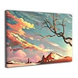 Henry Huxley Wall Art Painting Picture for Living Room Couch Home Bedroom Decoration Deadwood Modern Framed Artwork 16x20in