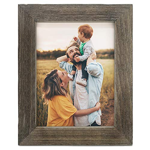 IKEREE 11x14 Picture Frames, 100% Handmade with Rustic Looking, Photo Frames for Wall Display, Weathered Gray (Tops Reclaimed Wooden Table)