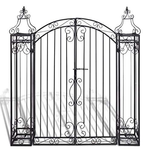 Cirocco Victorian Style Garden Gate Entryway Estate Door Archways 4.5 FT | Heavy Duty Iron Rustic Vintage Sturdy Rust Free Corrosion Resistance Weatherproof | for Home House Mansion Buildings School