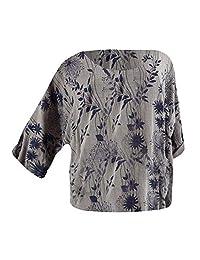 Colmkley Womens Leaf Print Long Sleeve Top Plus Size Casual Fashion Shirt Blouse