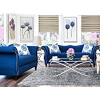 Furniture of America 2-Piece Athena Glamorous Sofa Set, Royal Blue