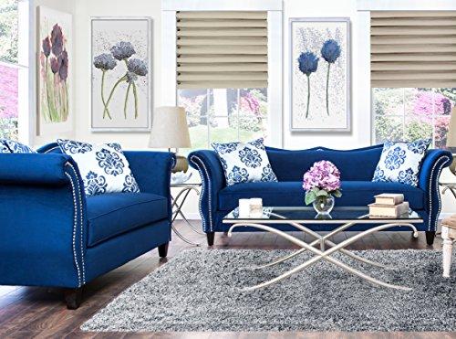 Furniture Of America 2 Piece Athena Glamorous Sofa Set, Royal Blue