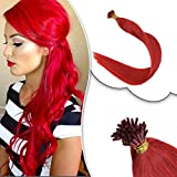 RUNATURE Brazilian I Tip Hair Extensions Human Hair Colors Red Highlights Cold Fusion Hair Extension 16 Inches 0.8g Per Strand 50g Per Pack Prebonded Keratin Extensions I-Tipped Hair Extensions
