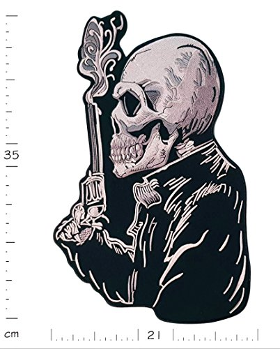 Big XL Iron on Patch - Skull Smoking Gun Biker - 13.8 X 8.3 inches Embroidered Sew on Patches Applications Applique Patches for Clothing Badge Backpack Jacket Jeans - Treasure-Quest