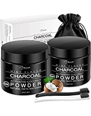 Teeth Whitening[2 Pack],BESTOPE Organic Activated Charcoal Powder with 2 Toothbrushes,Safe and Natural Tooth Whitener for Teeth Stain Removal(4.2 Ounce)