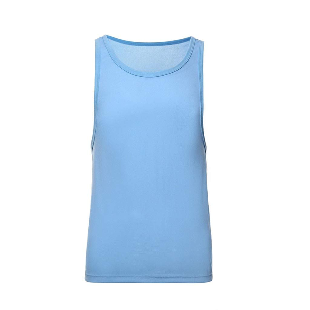 Giulot Men's Classic Basic Outdoor Quick-Drying Sports Tank Tops Ultra Soft Stretching Fitness Vest Basic Training Shirt Sky Blue