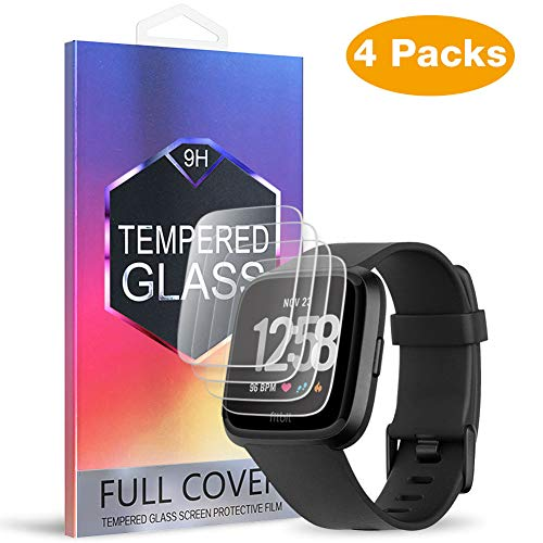 (4-Pack) MEBUYZ for Fitbit Versa Screen Protector - Tempered Glass Screen Protective Film Anti-Bubble Anti-Scratch Screen Guard [Lifetime Replacement Warranty]