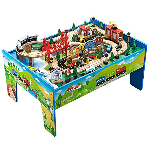 london-kate Deluxe 80pcs Wooden Train Set with Table