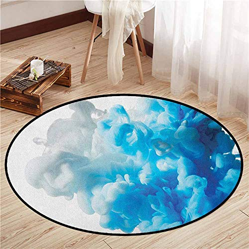Skid-Resistant Rugs,Abstract,Abstract Illustration Clouds Skyline Smoke Mixed Liquid Flow Movement Art Print,Anti-Slip Doormat Footpad Machine Washable,4'11
