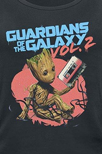 Guardianes De La Galaxia 2 - Groot Tape Top Mujer Negro Negro