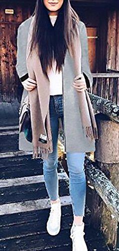 Cappotto Outdoor Vintage Outerwear Giacche Giubbotto Con Manica Zip Colore Puro Casual Grigio Bomber La Lunga Women Elegante Donna Baseball Giovane Cappotti Grazioso Giacca Autunno Moda Invernali 8vqagOE1w