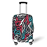 Travel Luggage Cover Suitcase Protector,Grunge,Abstract Shapes in Graffiti Art Style Underground Hip Hop Culture Funky Street Wall,Multicolor,for Travel