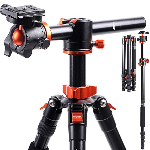 K&F Concept TM2515T1 Professional 67 inch Camera Tripod Horizontal Aluminium Tripods Portable Monopod with 360 Degree Ball Head Quick Release Plate for Canon Nikon Sony DSLR Cameras