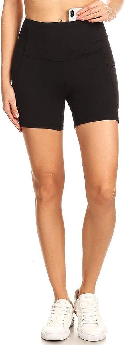 Large Leggings Depot YL7AS5-BLACK-L Solid Shorts